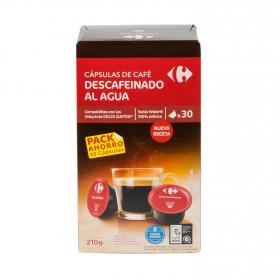 Café descafeinado al agua en cápsulas Carrefour compatible con Dolce Gusto 30 unidades de 7 g.