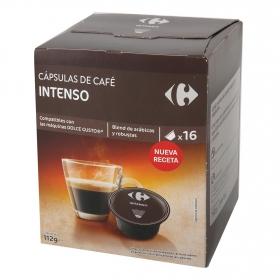 Café intenso en cápsulas Carrefour compatible con Dolce Gusto 16 unidades de 7 g.