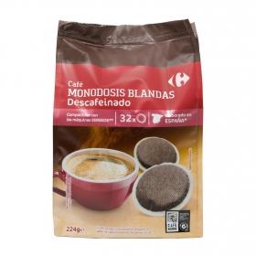 Café descafeinado monodosis Carrefour compatible con Senseo 32 unidades de 7 g.