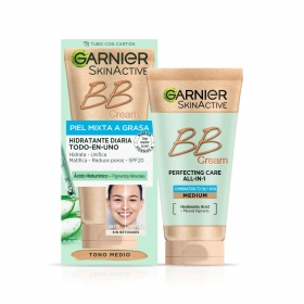 Crema facial BB Cream pieles mixtas a grasas Color Medio Garnier-Skin Active 40 ml.