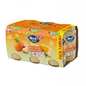 Tarrito de naranja, plátano y galleta desde 6 meses sin azúcar añadido Hero Baby Merienda sin aceite de palma pack de 6 unidades de 190 g.