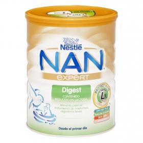Leche infantil desde el primer día en polvo Nestlé Nan Digest baja en lactosa lata 750 g.