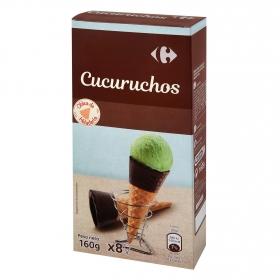 Conos de barquillo de chocolate Carrefour pack de 8 unidades de 20 g.