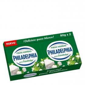 Queso para ensaladas sabor finas hierbas Philadelphia pack de 2 unidades de 80 g.