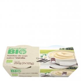 Natillas de soja sabor vainilla ecológicas Carrefour Bio pack de 2 unidades de 125 g.