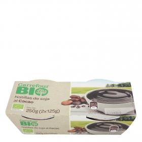 Natillas de soja al cacao ecológicas Carrefour Bio pack de 2 unidades de 125 g.
