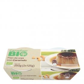 Flan de soja con caramelo ecológico Carrefour Bio pck de 2 unidades de 125 g.