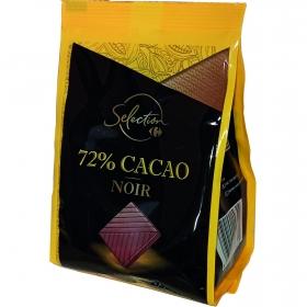Chocolate negro 72% en porciones Carrefour 200 g.