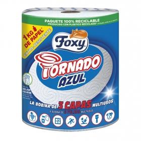 Papel de cocina 3 capas Tornado Azul Foxy 1 rollo.