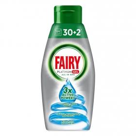 Lavavajillas a máquina Fairy Platinum Gel 32 lavados.