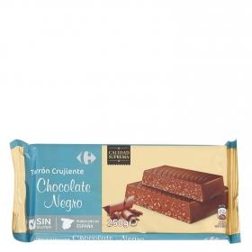 Turrón crujiente de chocolate Carrefour sin gluten 250 g.