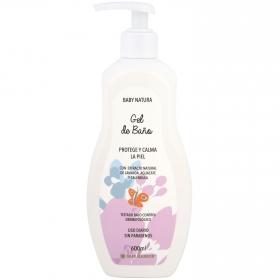 Gel de baño protege y calma la piel con extracto natural de lavanda, agucacate y caléndula Baby Natura 600 ml.
