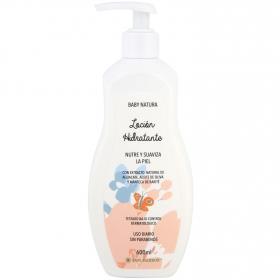 Loción hidratante nutre y suave la piel con extracto natural de aguacate, aceite de oliva y manteca de karité Baby Natura 600 ml.