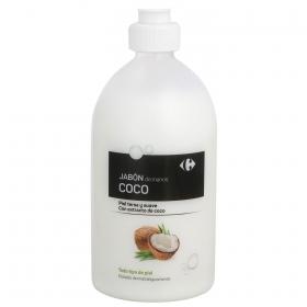 Jabón de manos coco Carrefour 500 ml.