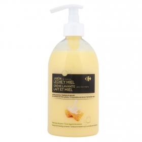 Jabón de manos con leche y miel Carrefour 500 ml.