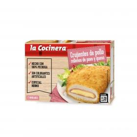 Pollo empanado crujiente y rebozado relleno de pavo y queso La Cocinera 200 g.