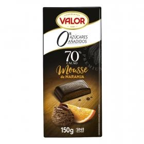 Chocolate negro 70% relleno de mousse de naranja sin azúcar añadido Valor 150 g.