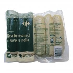 Salchichas Rostbratwurst de pavo y pollo Carrefour 540 g.