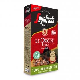 Café arábica origen Perú ecológico en cápsulas Segafredo Zanetti compatible con Nespresso 10 unidades de 5,1 g.