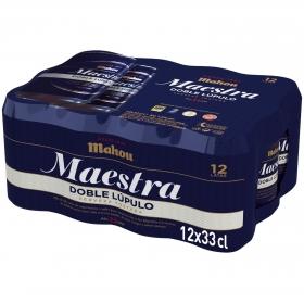 Cerveza Mahou Maestra tostada doble lúpulo pack de 12 latas de 33 cl.