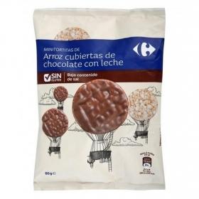Tortitas de arroz cubiertas de chocolate con leche bajo en sal Carrefour sin gluten 60 g.