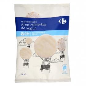 Tortitas de arroz cubiertas de yogur bajo en sal Carrefour sin gluten 60 g.