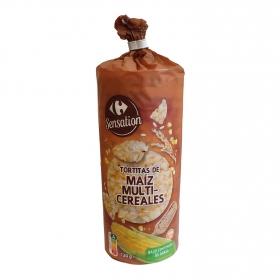 Tortitas de maíz multicereales Carrefour sin gluten 130 g.