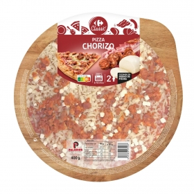 Pizza chorizo, jamón y bacon Carrefour 400 g.