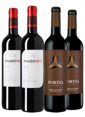 Caja 4 Botellas (2 + 2) Pradorey + Portia Tinto Roble