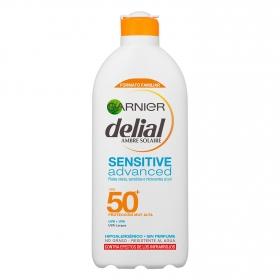 Leche solar proctectora pieles intolerantes al sol FP 50+ Delial 400 ml.