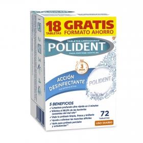 Tabletas limpiadoras para prótesis dentales acción desinfectante con oxígeno activo Polident 72 ud.