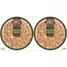 Pizza de jamón y queso Casa Tarradellas pack de 2 unidades de 220 g.