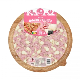 Maxi Pizza jamón y queso Carrefour 580 g.