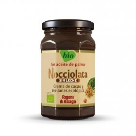 Crema de cacao y avellanas ecológica Rigoni sin gluten 270 g.