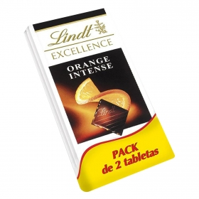 Chocolate negro intenso con naranja Lindt Excellence pack de 2 tabletas de 100 g.