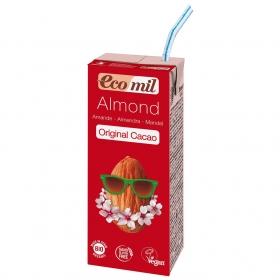 Bebida de almendra sabor cacao ecológica Ecomil sin gluten brick de 200 ml.