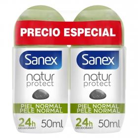 Desodorante roll-on Natural protect piel normal Sanex pack de 2 unidades de 50 ml.