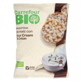 Tortitas de maíz con crema ágria y cebolla ecológicas Carreofur Bio sin gluten 50 g.