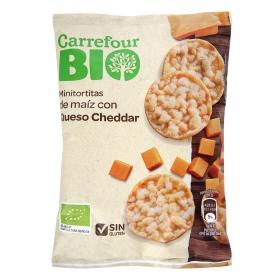 Tortitas de maíz con queso cheddar ecológicas Carreofur Bio sin gluten 50 g.