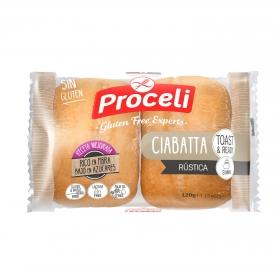 Pan Ciabatta rústico Proceli sin gluten bolsa de 2 unidades de 60 g.