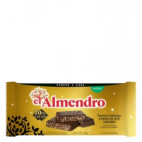 Turrón crujiente de chocolate negro El Almendro 280 g.