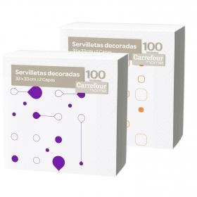 Set de Servilletas  2 capas de Celulosa CARREFOUR HOME Decorada 100pz - Blanca Decoradas