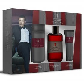Estuche Antonio Banderas The Secret Temptation: colonia  100 ml, desodorante 150 ml y after shave 75 ml.
