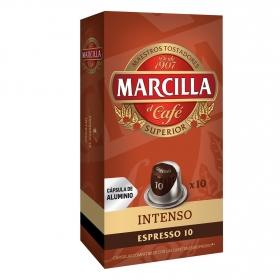 Café intenso en cápsulas Marcilla compatible con Nespresso 10 unidades de 5,2 g.