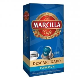 Café descafeinado en cápsulas Marcilla compatible con Nespresso 10 unidades de 5,2 g.