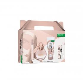 Estuche Benetton Colors Rose: colonia 50 ml, loción corporal 75 ml y vial 10 ml.