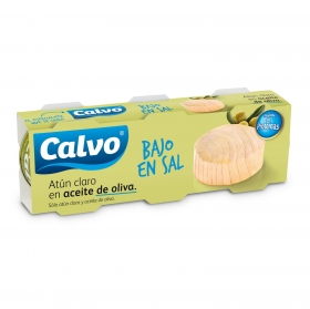 Atún claro en aceite de oliva bajo en sal Calvo pack de 3 latas de 56 g.