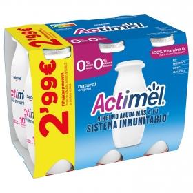 Yogur L.Casei desnatado líquido natural Danone Actimel pack de 6 unidades de 100 g.