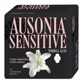 Compresas con alas Sensitive Ausonia 14 ud.