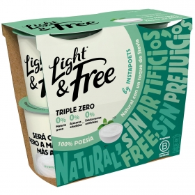 Yogur desnatado natural con stevia Danone Light&free pack de 4 unidades de 115 g.